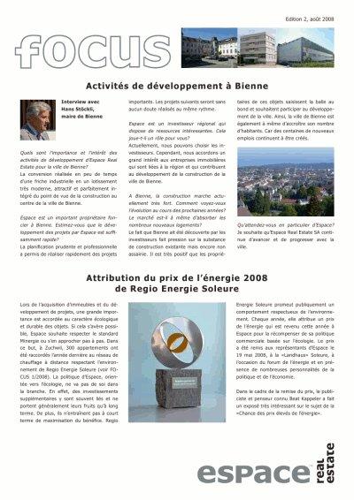 Espace Real Estate publie Focus 2