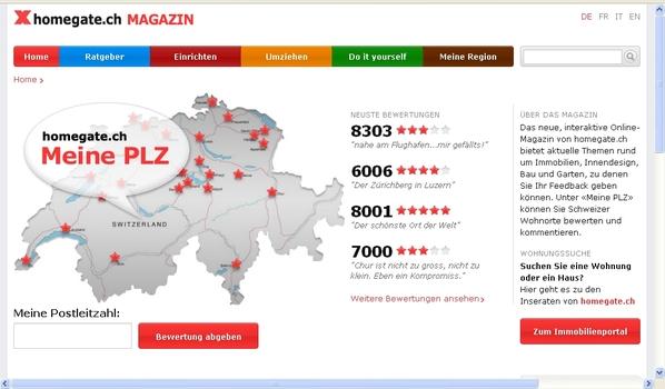 Nouveau magazine interactif en ligne sur homegate.ch