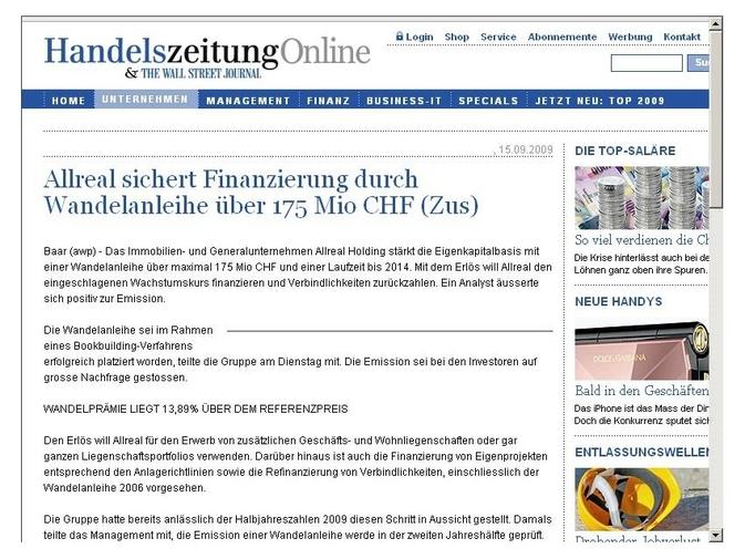 Allreal sichert Finanzierung durch Wandelanleihe über 175 Mio CHF