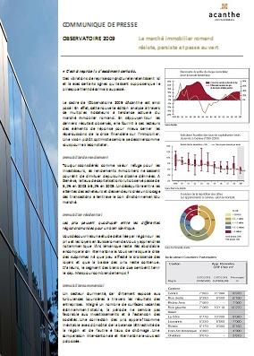 Acanthe publie son étude annuelle sur l'immobilier suisse romand