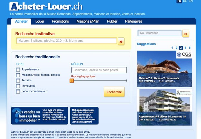 Acheter-louer.ch : nouveau portail immobilier pour les professionnels