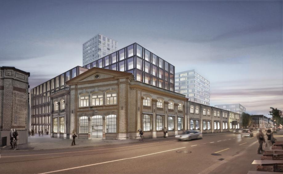La maison «Elefant» sera construite directement sur la Zürcherstrasse, derrière la façade classée. SWICA louera environ la moitié des espaces tertiaires attractifs et modernes situés au centre de Winterthur (Image: Implenia).