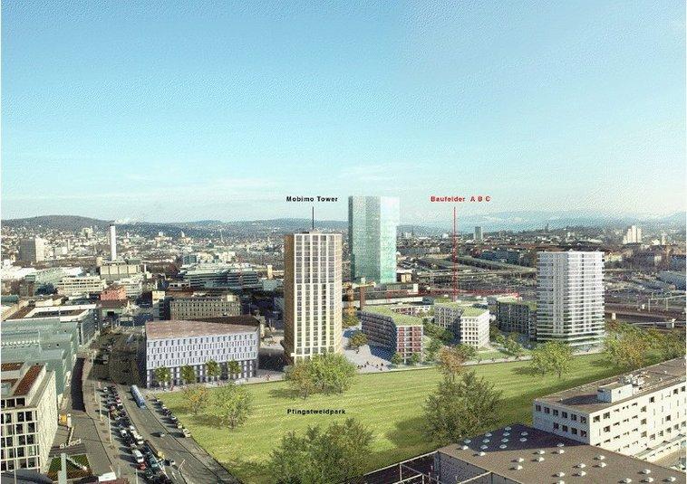 Mobimo investit quelque 200 millions de CHF dans le développement et la construction d'un complexe locatif d'environ 250 appartements à Zurich-Ouest, offrant des surfaces pour le secteur tertiaire au rez-de-chaussée.
