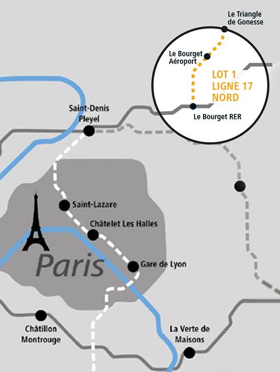 À Paris, Implenia participe à la réalisation du lot 1 de la nouvelle ligne 17 Nord du Grand Paris Express. Ce lot porte sur un tunnel long de plus de six kilomètres, deux nouvelles gares et le puits d'attaque. Le début des travaux est prévu pour mai 2019. (Illustration : Implenia)