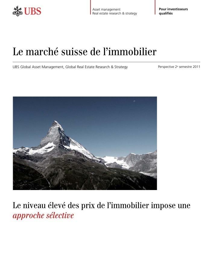 UBS : Nouvelle étude sur le marché suisse de l'immobilier