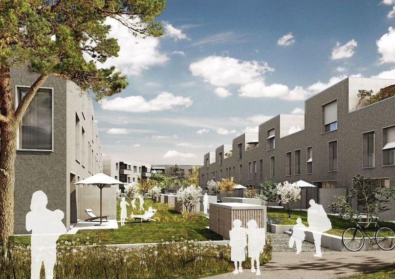 Le complexe «schorenstadt» fait le lien entre développement durable et vie urbaine et constitue un projet phare dans le cadre de la Société à 2000 watts.