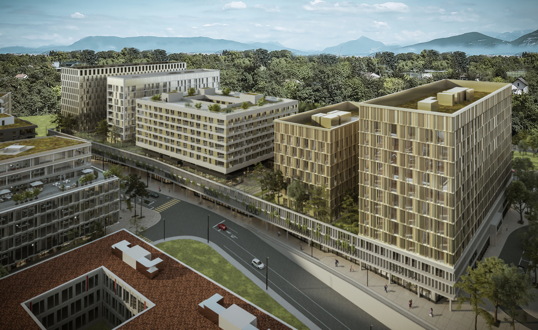 Les cinq bâtiments à usage commercial dans le « Quartier de l'Étang ». Le site bénéficie d'une excellente accessibilité, à proximité de l'Aéroport international de Genève (Illustration : Urban Project).