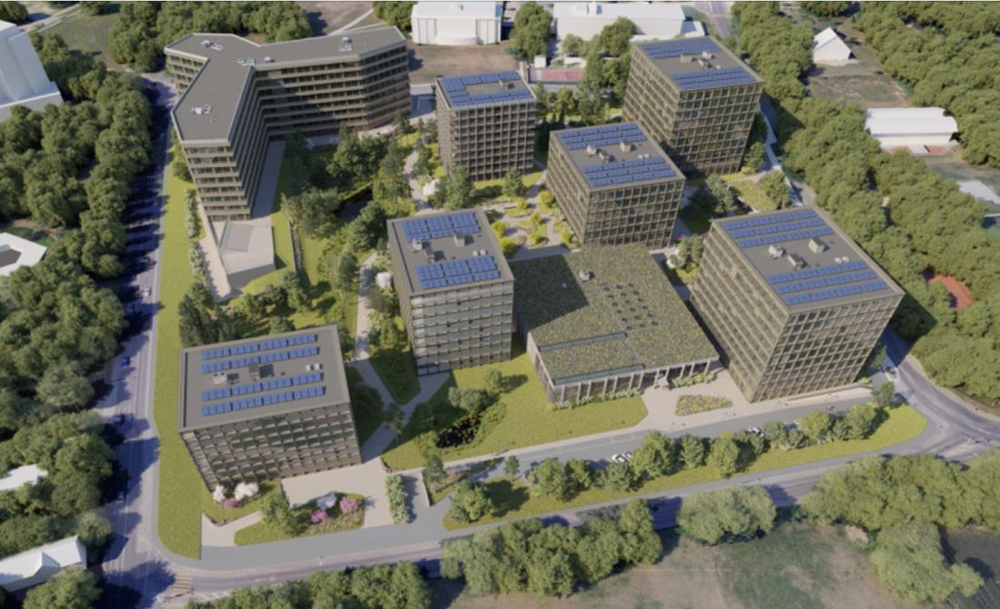 Le projet Green Village comprendra des bâtiments administratifs, une résidence hôtelière ainsi que des logements. Situé au centre du quartier international de Genève, il est immergé dans un espace de verdure. (Illustration : Implenia)