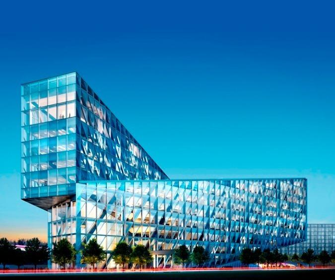 Le futur siège social international de JTI dans le quartier de Sécheron, à Genève. (Copyright : SOM)