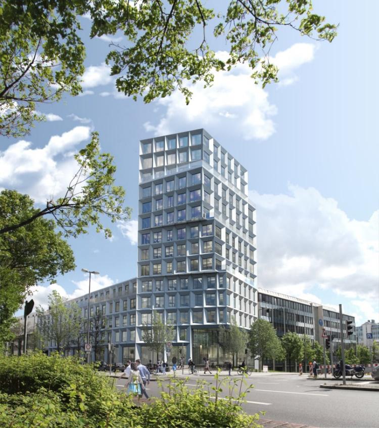 Dans le cadre d'un projet conjoint porté par KIRKBI A/S, DK-Billund et ehret+klein, Implenia réalisera des univers de bureau modernes ainsi que des surfaces commerciales attractives à Munich. (Illustration : Fix Visuals, Munich)