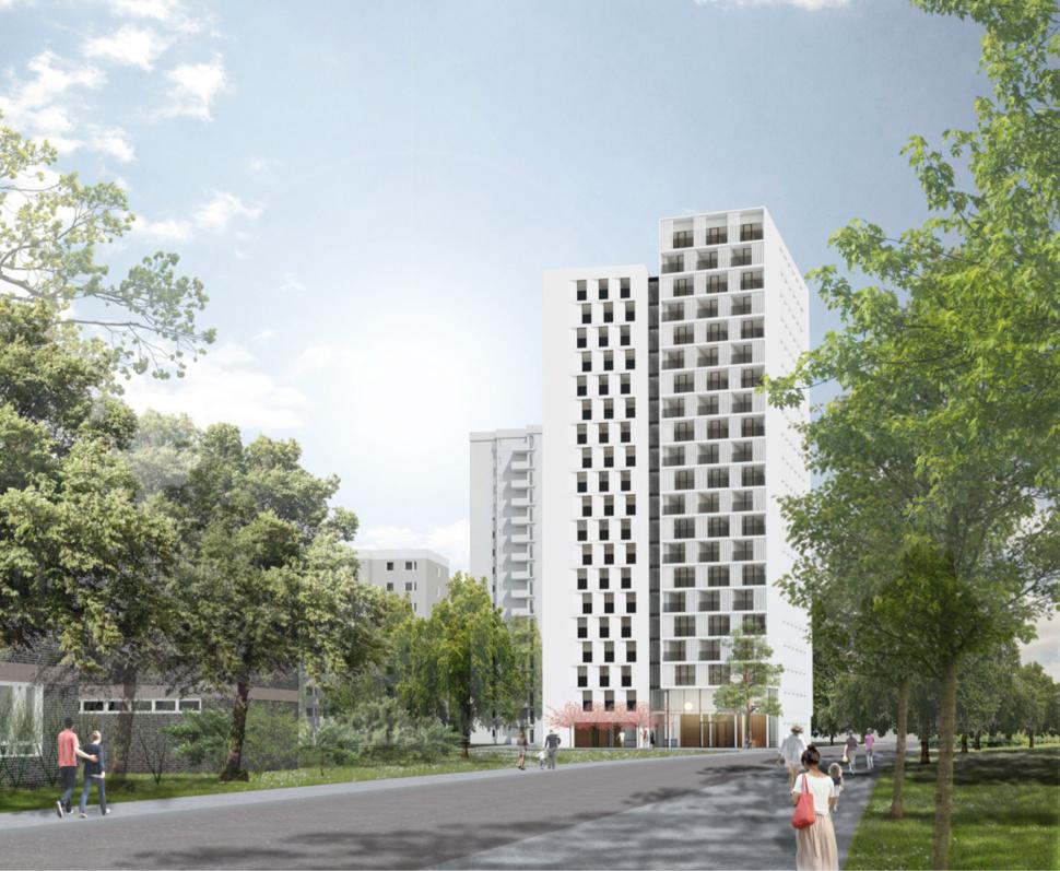 Espaces d'habitation contemporains dans le quartier de Gropiusstadt, à Berlin : Implenia construira 151 appartements. (Illustration : S&P Sahlmann GmbH, Potsdam)
