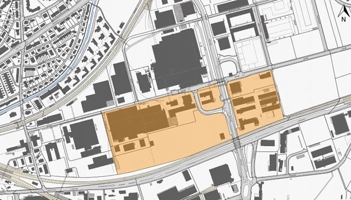 Même après la cession de ses immeubles de rapport de Neuhegi (zone en jaune), Implenia contribuera au développement durable de la région, grâce à la promotion de plusieurs projets de construction d'immeubles d'habitation et à usage commercial.
