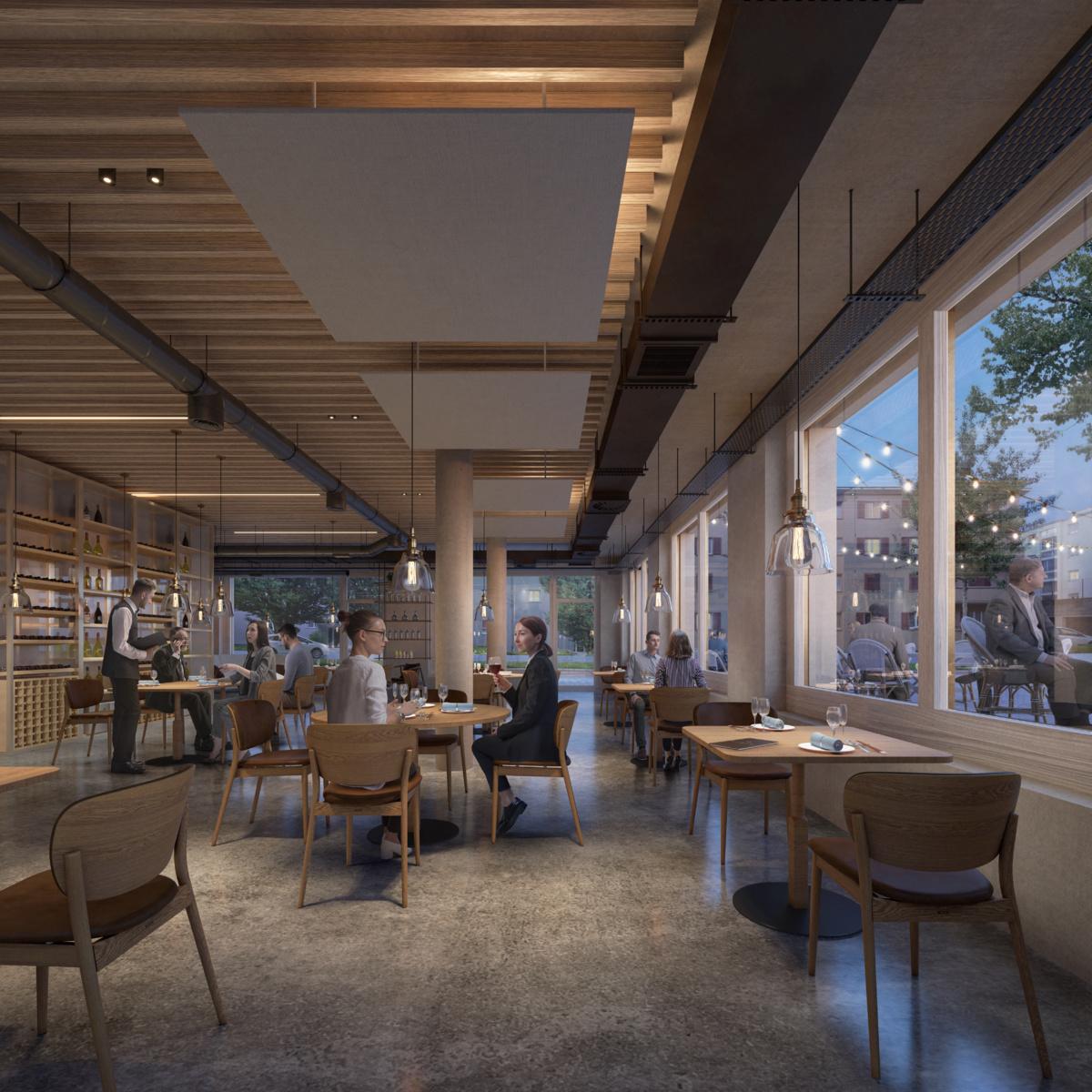 Bureaux, restaurant et arcades commerciales aux Plaines du Loup à Lausanne