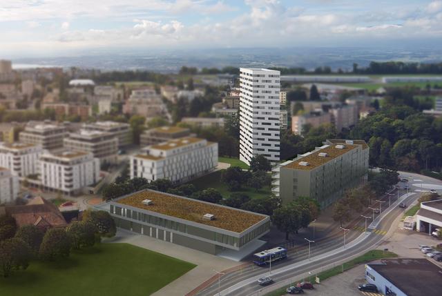 Le projet immobilier «Les Balcons du Mont» comprend trois bâtiments dont une tour de 60 mètres de hauteur. (Image de synthèse) Image: Retraites Populaires