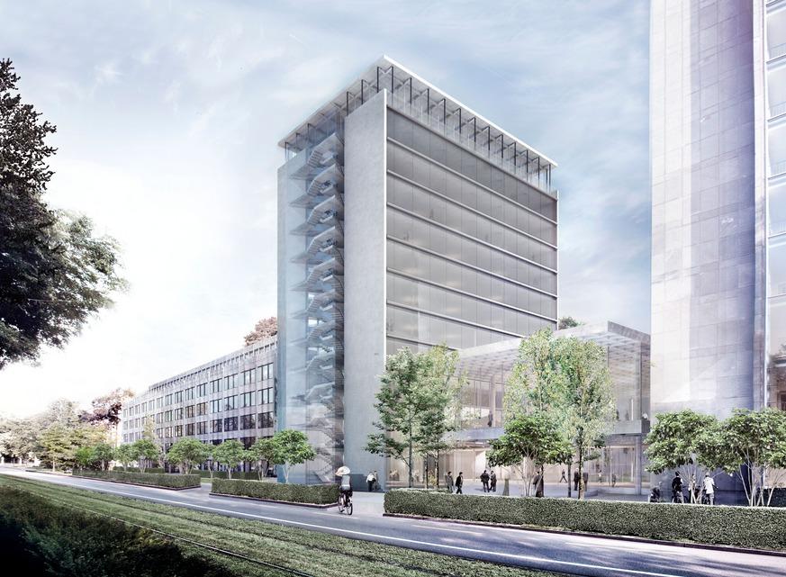 aperçu du modèle de réaménagement du siège principal d'Helvetia Suisse de St. Alban-Anlage à Bâle.Herzog & de Meuron
