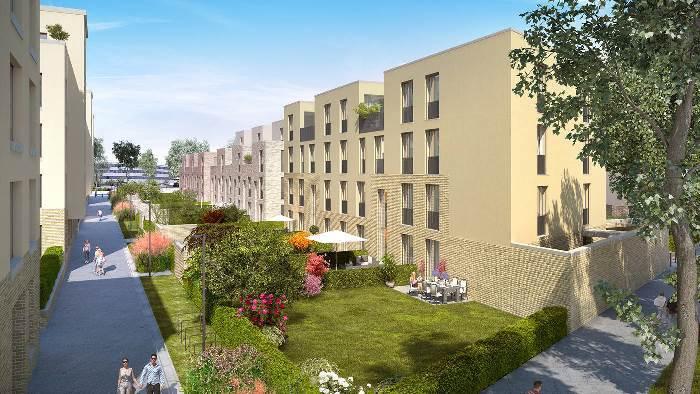 Parmi les logements du complexe d'habitation «Aeschbach Quartier» construit sur l'ilot 4 au centre d'Aarau figureront notamment les appartements en duplex représentés ci-dessus. Le complexe comprendra également des appartements sur parc et des appartements de ville ainsi que des maisons de ville. Plus d'informations sur: http://www.aeschbachquartier.ch (Photo: Mobimo)