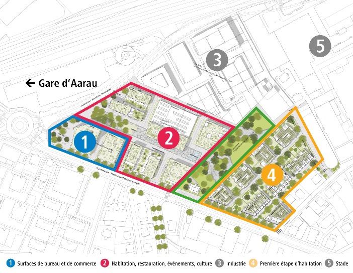 Les travaux de maîtrise d'œuvre débuteront mi-mars 2015 sur l'ilot 4, ou Implenia réalisera, en tant qu'entreprise générale, un complexe d'habitation. Celui-ci formera, en association avec les ilots 1 et 2 (appel d'offres en cours) ainsi qu'avec le parc reliant l'ensemble, le futur «Aeschbach Quartier». (Photo: Mobimo/Implenia)
