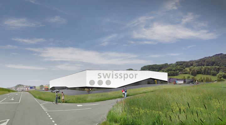 Grâce à une différenciation paraissant aléatoire entre couleur claire et sombre, le futur lieu de production de swisspor à Châtel-Saint-Denis donnera une impression de légèreté.