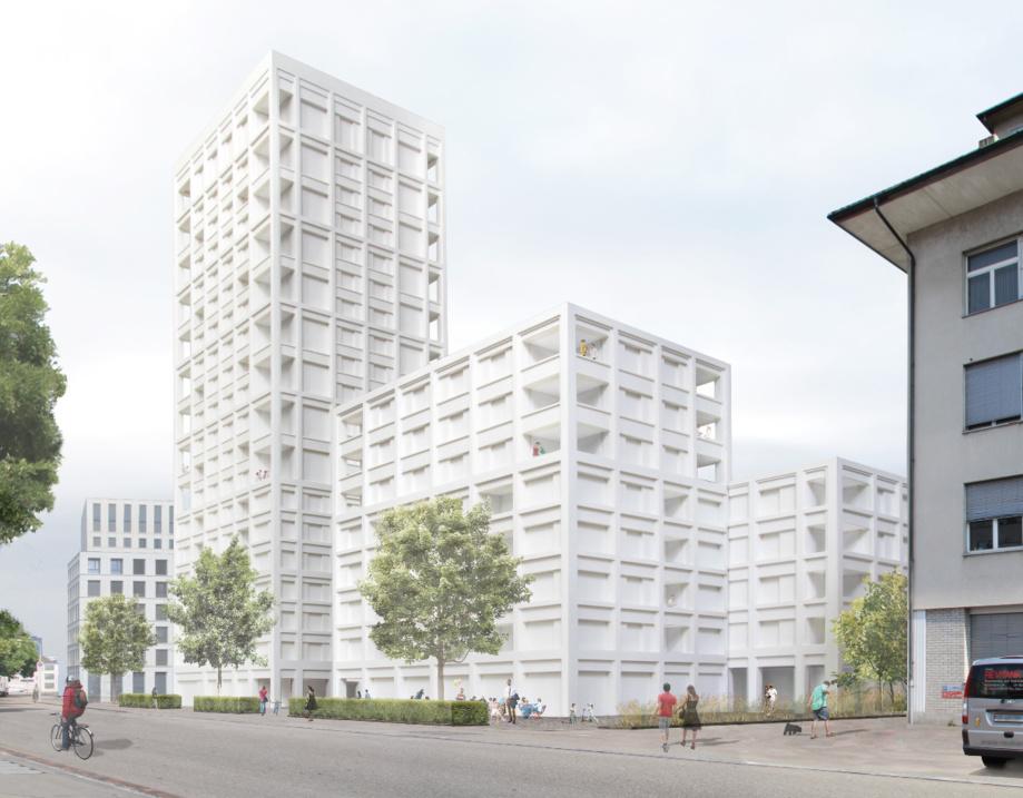 Un complexe immobilier de 277 logements comprenant également des espaces artisanaux et commerciaux est en train de naître à Zurich sur le site de l'ancienne usine de peintures «Labitzke» entre l'Albulastrasse et la Hohlstrasse. (Photo: Gigon/Guyer)