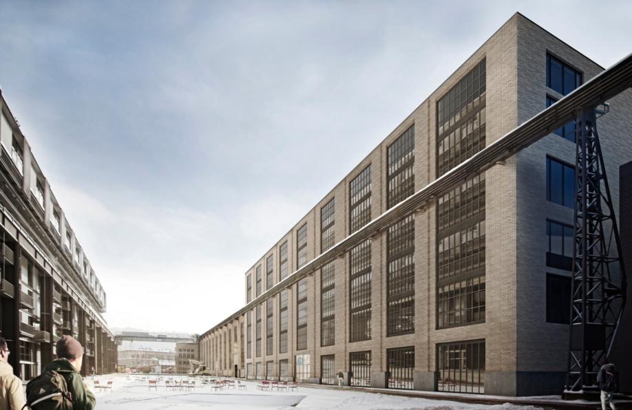L'histoire industrielle du site sera documentée par la préservation partielle du chemin de roulement parallèle au bâtiment et par la protection intégrale de la Halle 53 avoisinante. De plus, la nouvelle façade donnant sur la Katharina-Sulzer-Platz tiendra compte des structures de l'ancien bâtiment. (Source: pool Architekten)