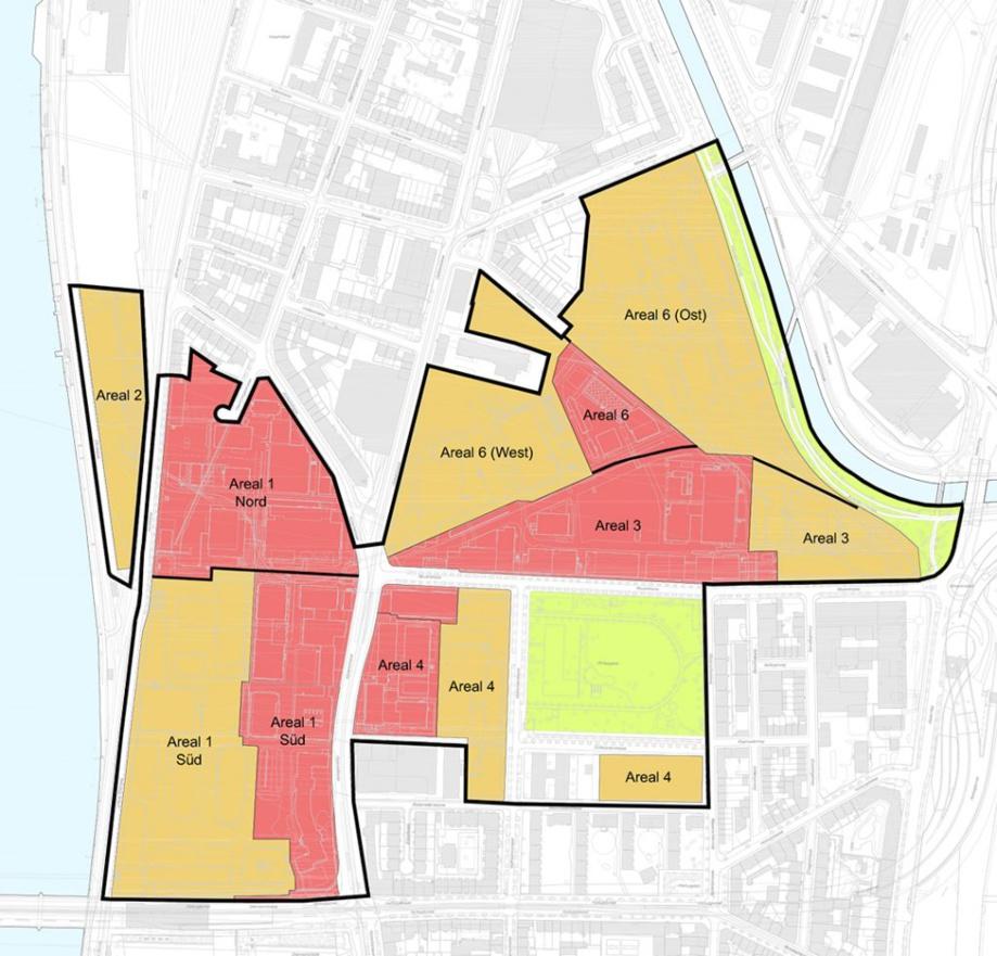 Die Werkareale von BASF (rot) und von Novartis (gelb) sowie die angrenzenden öffentlichen Grün- und Freiräume bilden zusammen das Planungsgebiet von klybeckplus zwischen Rhein und Wiese. Links unten ist die Dreirosen-Brücke zu sehen.