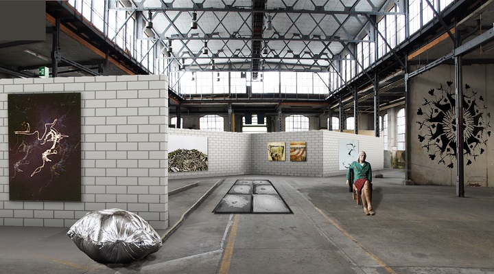 Le «line wall» symbolise l'épine dorsale du Groupe d'artistes et sert de mur d'exposition pour l'accrochage de tableaux de chaque côté, alors que les deux espaces ainsi créés accueillent des sculptures, des objets et des installations. (Photo: Groupe d'artistes de Winterthur)