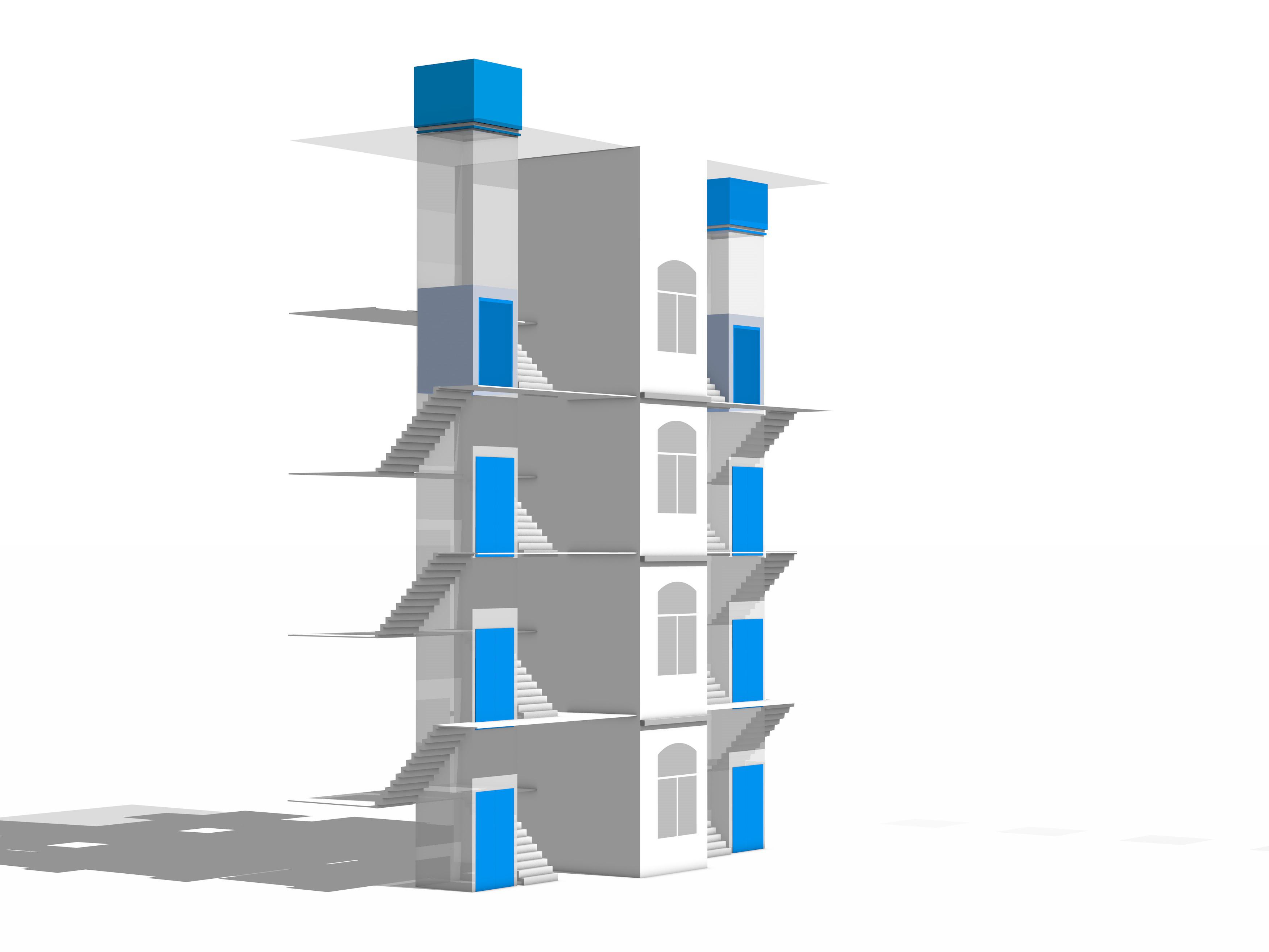KONE MonoSpace® 500 avec une hauteur de tête de puits de 2,5 mètres