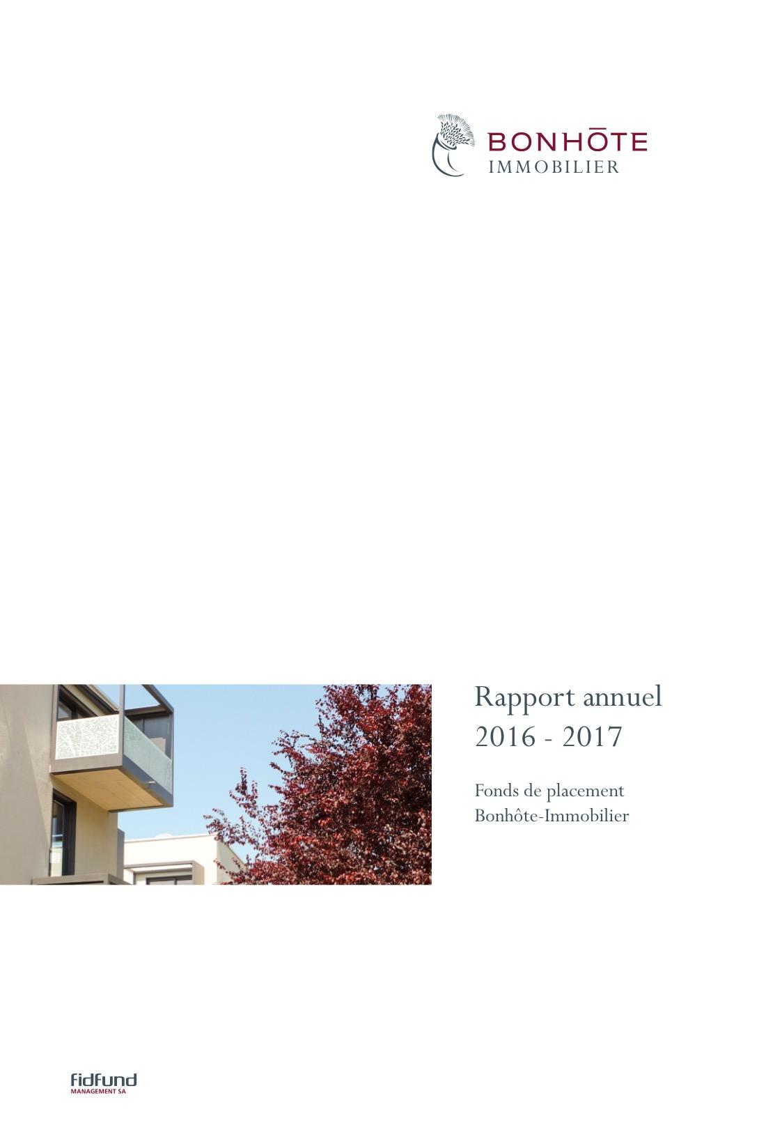 Bonhôte-Immobilier rapport annuel 2016/17