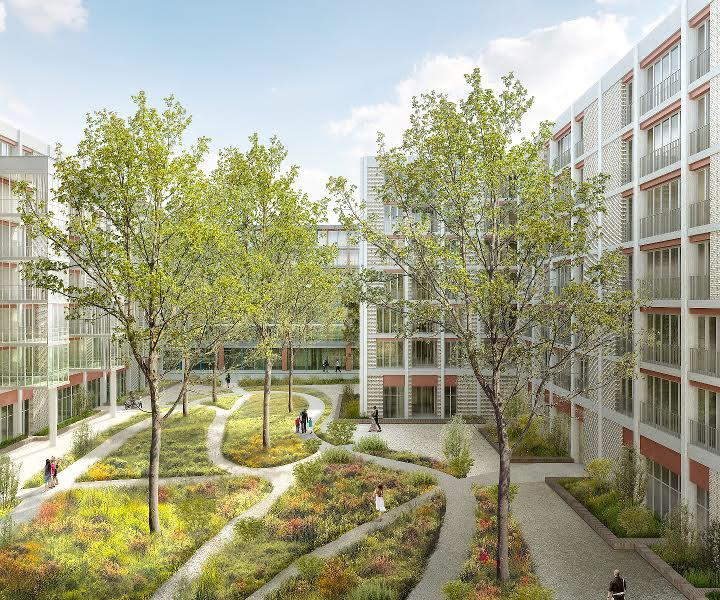 Sur le terrain d'Implenia à Winterthur Neuhegi, KIM est en cours de construction. Le complexe résidentiel en U comportera un jardin semi-public (cf. illustration) ainsi qu'un immeuble de bureaux et d'affaires. (Illustration : BDE Architekten, Winterthur)