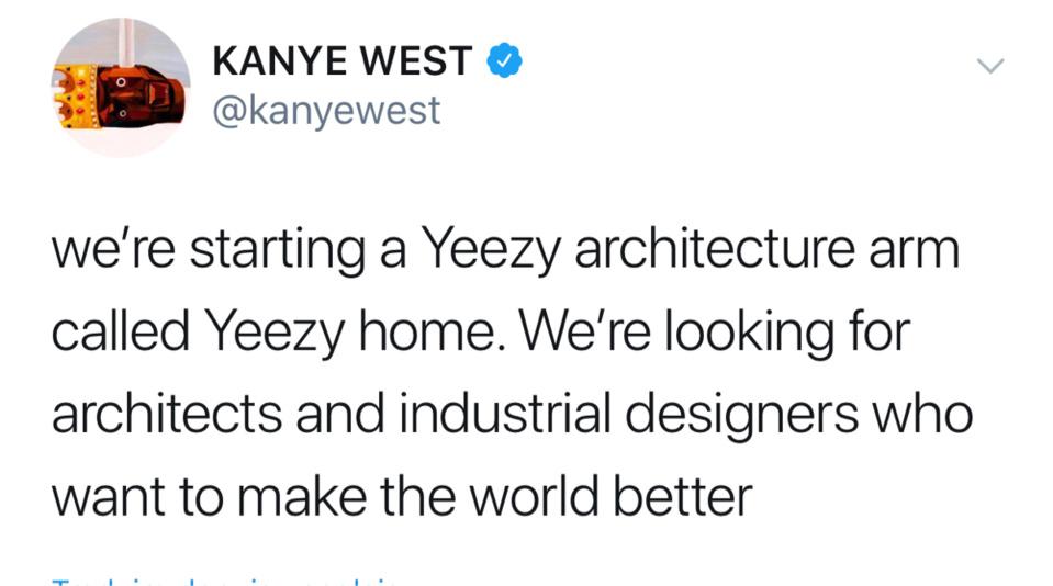 """Kanye West lance une société d'architecture et de design sous la marque """"Yeezy"""""""