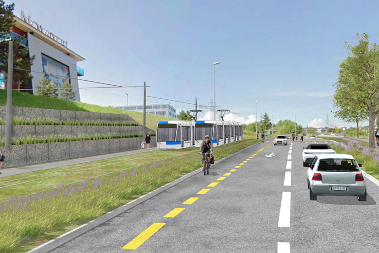 Image de synthèse : le futur tramway, en route vers son terminus à la Croix-de-Péage, sur la commune de Villars-Sainte-Croix (terminus de la ligne 17 des bus tl).