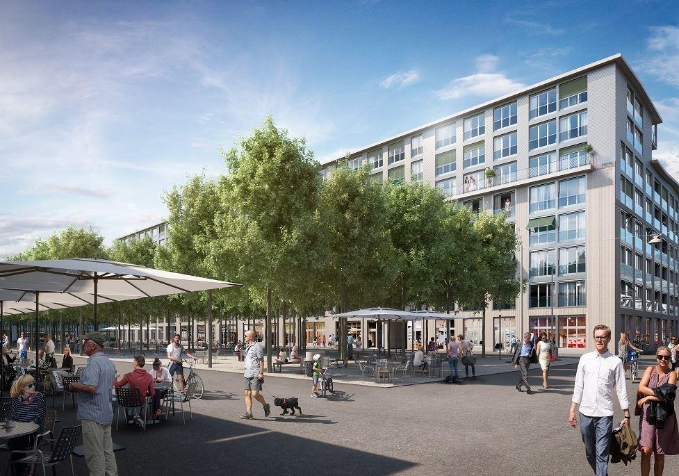 La Dialogplatz au sein de la Lokstadt : un lieu de détente et de rencontre multiforme pour petits et grands (illustration : Implenia).