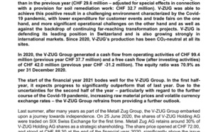 V-ZUG Group significantly increases net sales and operating result compared to the previous year